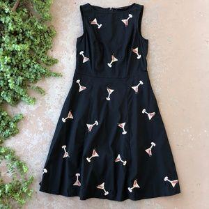 eShakti Martini Cocktail Fit & Flare Dress, Black